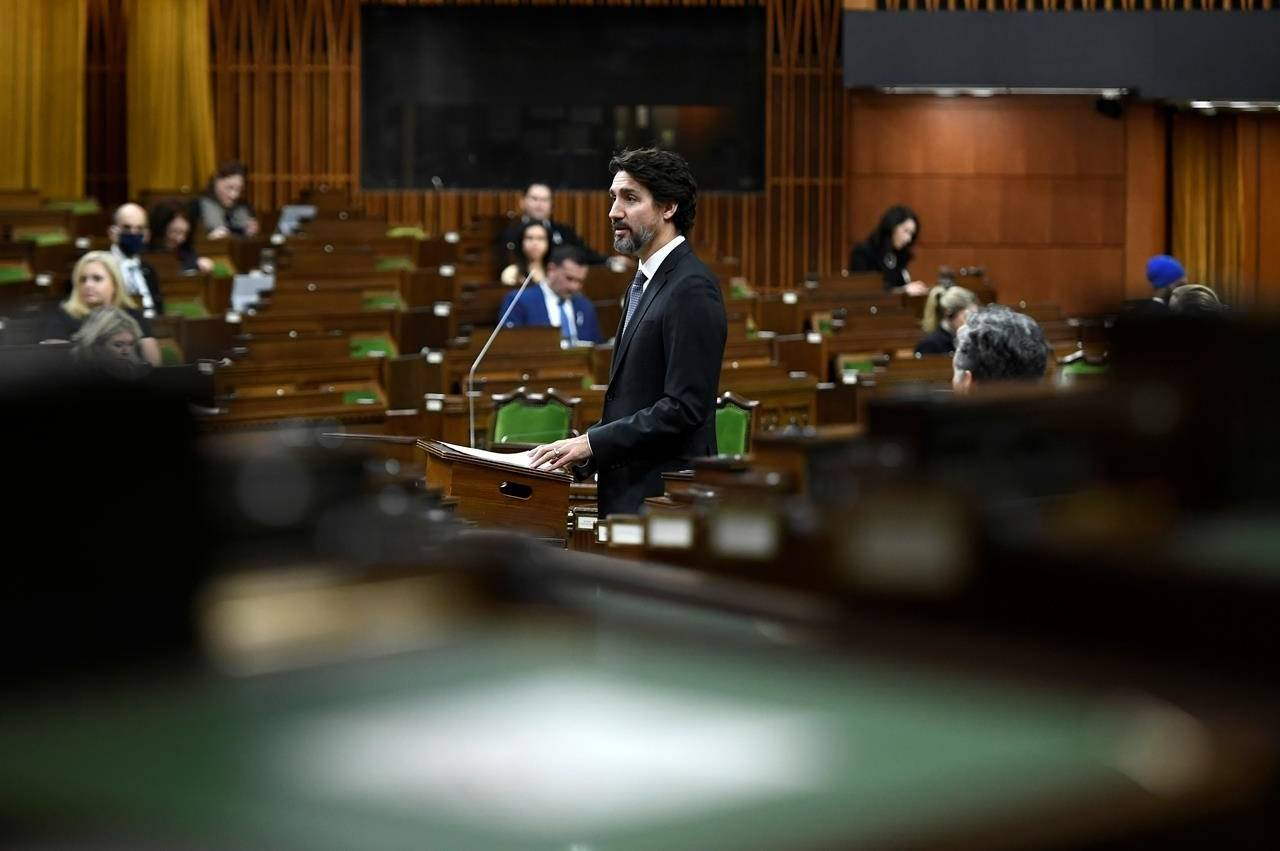 Prime Minister Justin Trudeau speaks in the in the House of Commons on Parliament Hill in Ottawa on Thursday, Dec. 3, 2020. THE CANADIAN PRESS/Justin Tang
