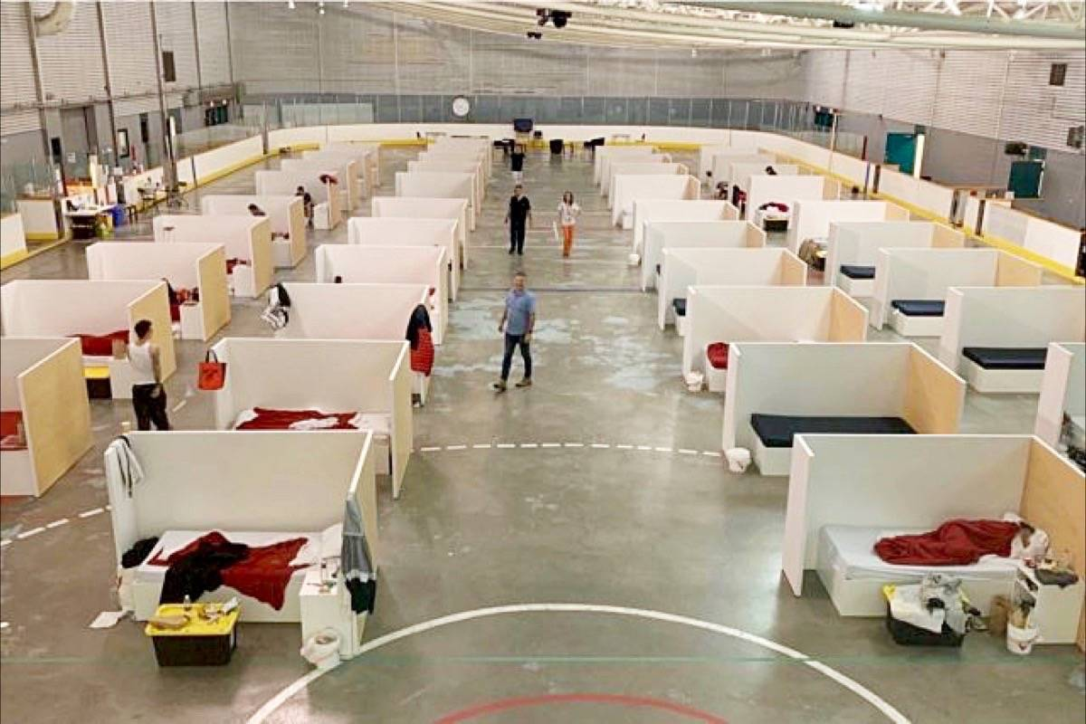 Beds are set up at the emergency response centre at the North Surrey Recreation Centre. (Contributed file photo)