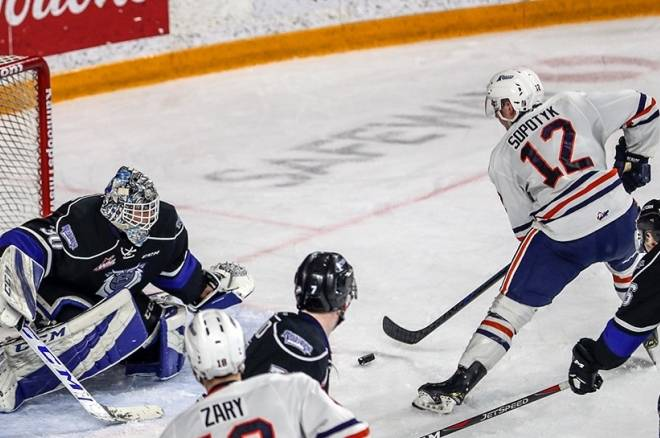Kyrell Sopotyk was drafted by the Kamloops Blazers in 2016 and played two seasons with the Western Hockey League club. (Photograph By ALLEN DOUGLAS/KTW)