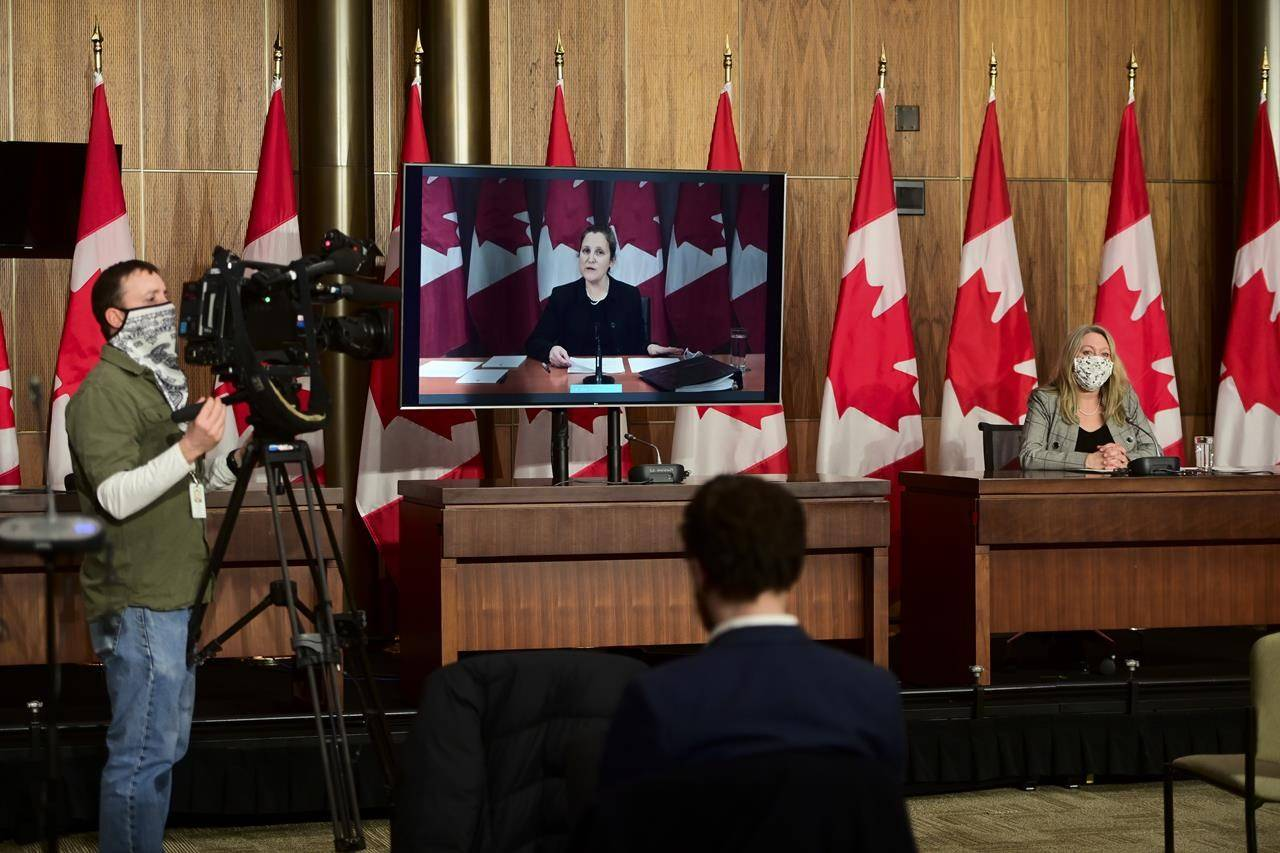 Minister of Middle Class Prosperity and Associate Minister of Finance Mona Fortier holds a press conference as she is joined virtually by Minister of Finance Chrystia Freeland in Ottawa on Monday, Jan. 25, 2021. Lawmakers return to the House of Commons today following the winter break. THE CANADIAN PRESS/Sean Kilpatrick