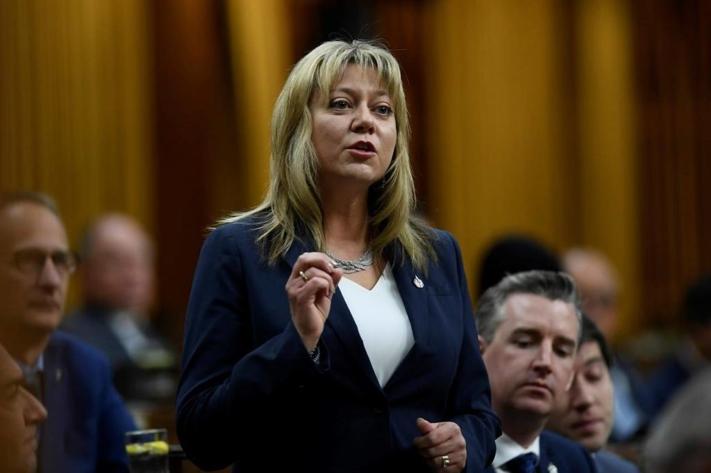 Conservative MP Tracy Gray rises during question period in the House of Commons on Parliament Hill in Ottawa on Friday, Jan. 31, 2020. The Opposition Conservatives are urging the federal government to push back on President Joe Biden's protectionist Buy American plan.THE CANADIAN PRESS/Justin Tang