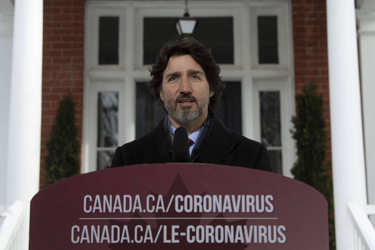 FILE – Canadian Prime Minister Justin Trudeau delivers his opening remarks at a news conference outside Rideau cottage in Ottawa, Tuesday, January 19, 2021. THE CANADIAN PRESS/Adrian Wyld