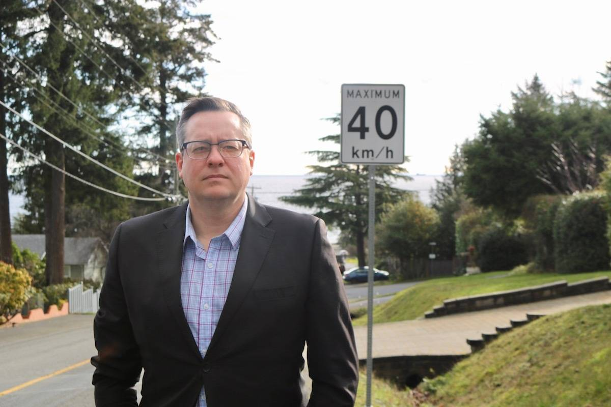 Brad Windsor has been an advocate for years to get sidewalks installed along Milburn Drive in Colwood, but to no avail. He wants city council to commit to making Milburn a priority lane for sidewalk construction in the future. (Aaron Guillen/News Staff)