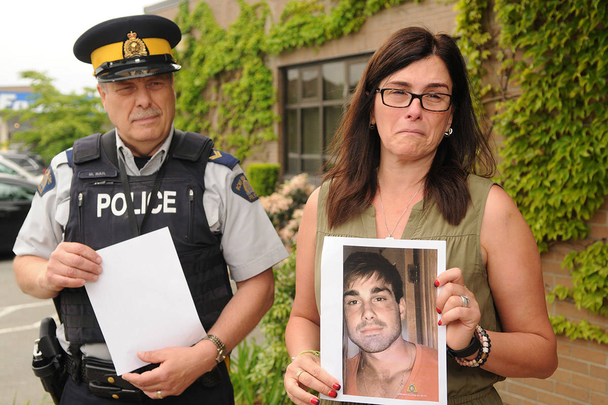 Eva Pucci Couture in this file shot from May 29, 2019, when she came to Chilliwack asking for the public's help in locating her missing son, Kristofer Shawn Couture. (Jenna Hauck/ Chilliwack Progress file)
