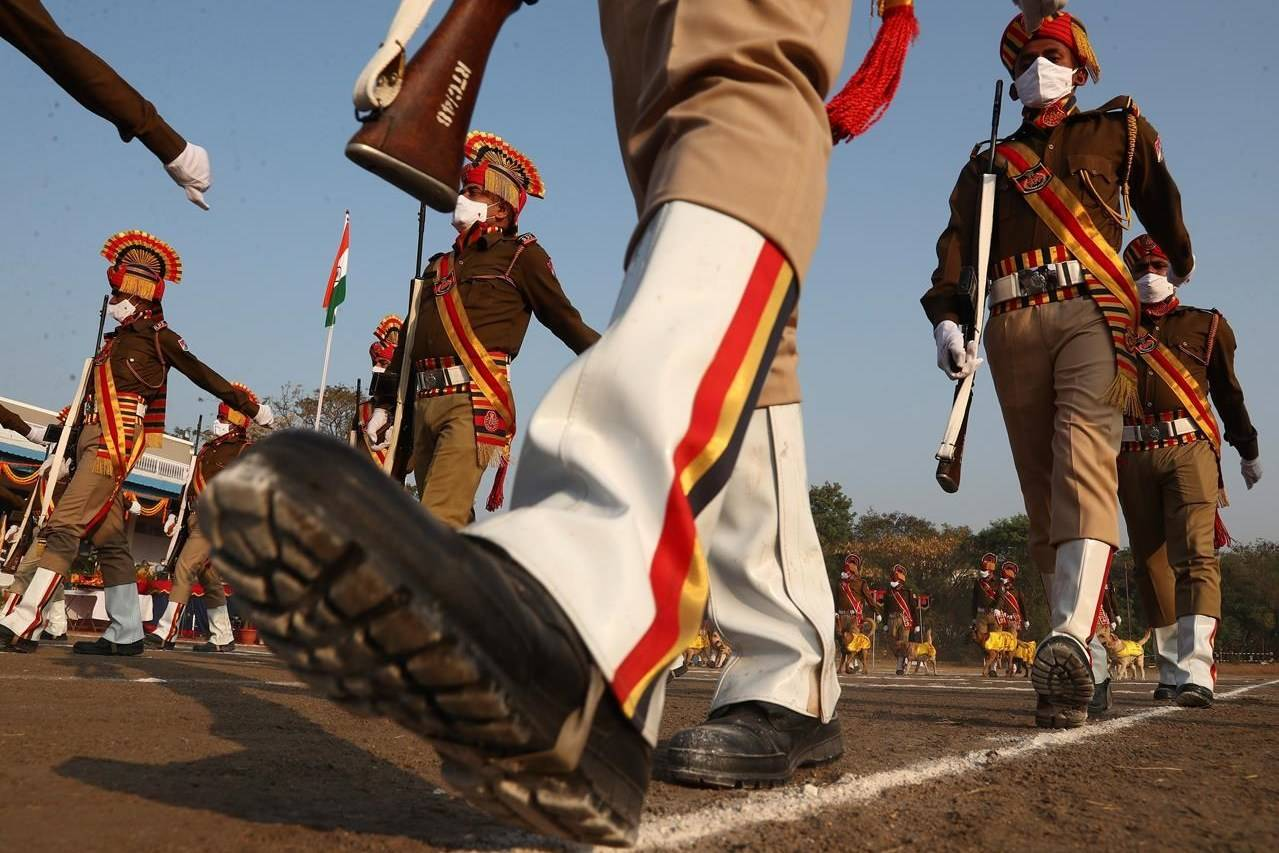 Indian Railway Protection Force (RPF) personnel march during Republic Day celebrations in Hyderabad, India, Tuesday, Jan. 26, 2021. Tuesday's event marks the anniversary of the country's democratic constitution taking force in 1950. (AP Photo/Mahesh Kumar A.)