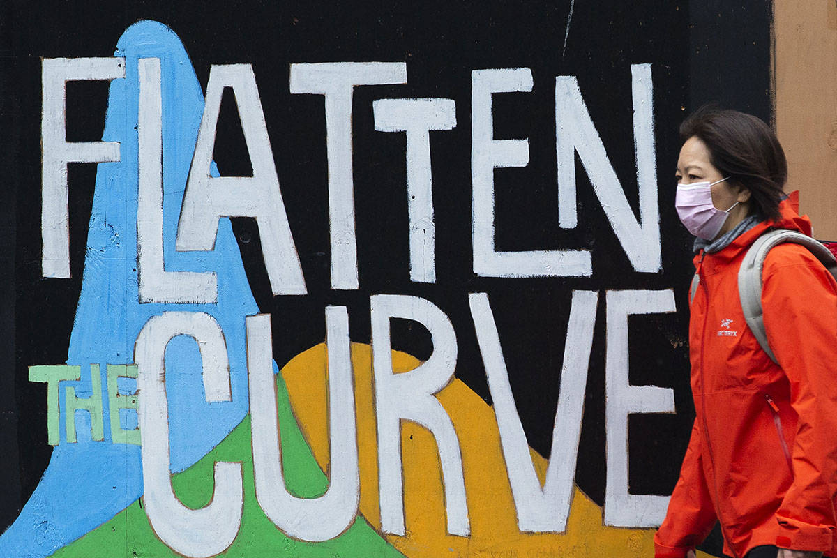 A woman wearing a protective face mask to curb the spread of COVID-19 walks past a mural in Victoria, B.C., on Monday, Dec. 7, 2020. THE CANADIAN PRESS/Marissa Tiel