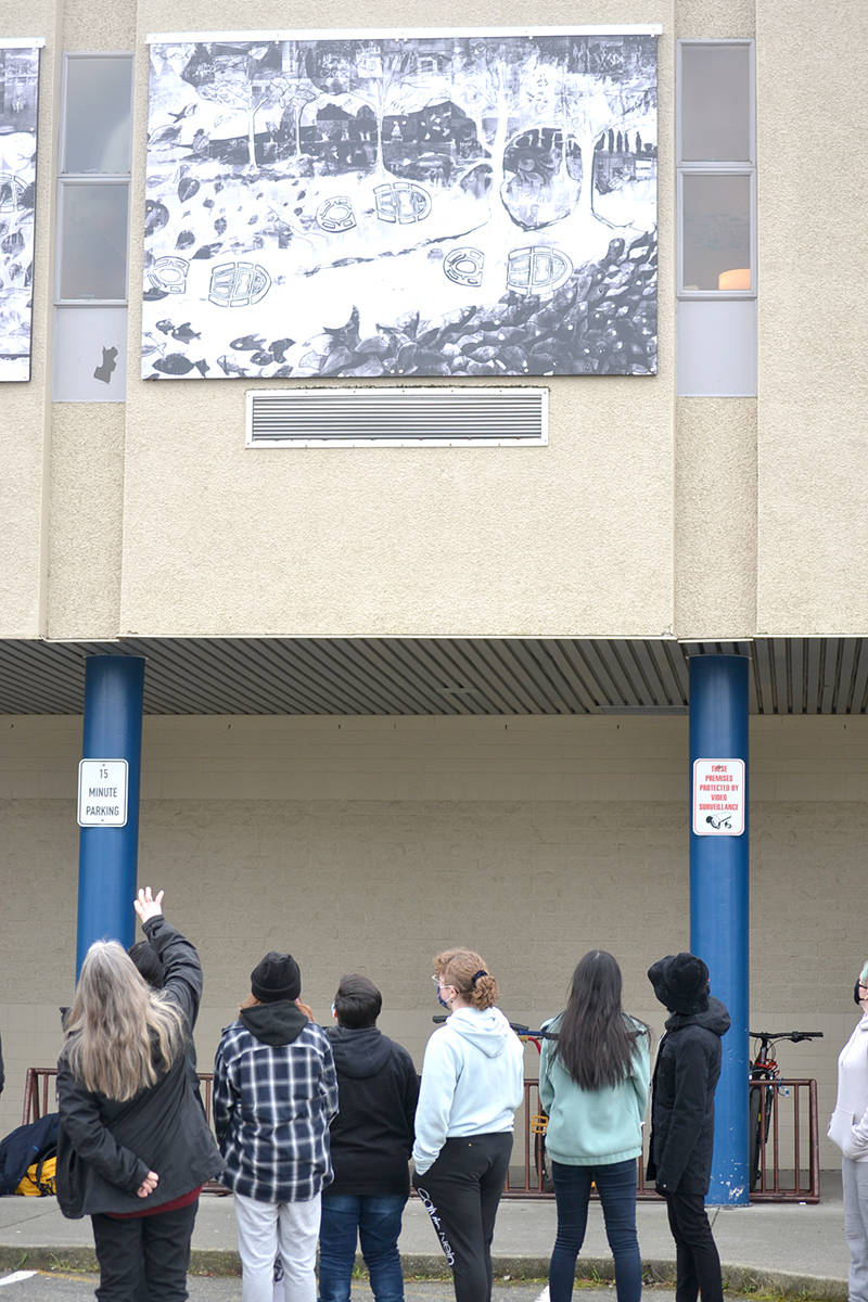 Students at Aldergrove Community Secondary School showcase new murals that tell the school's history. (Ryan Uytdewilligen/Aldergrove Star)