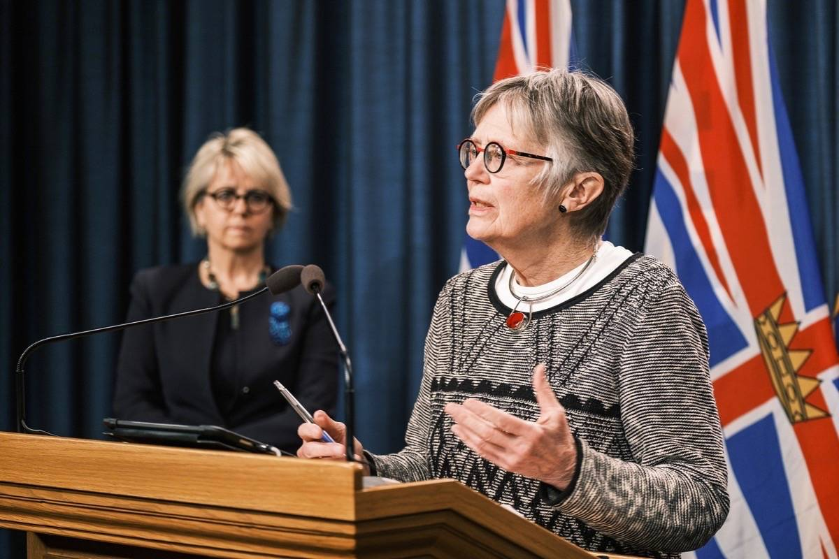 Dr. Penny Ballem, a former deputy health minister, discusses her role in leading B.C.'s COVID-19 vaccination program, at the B.C. legislature, Jan. 22, 2021. (B.C. government)