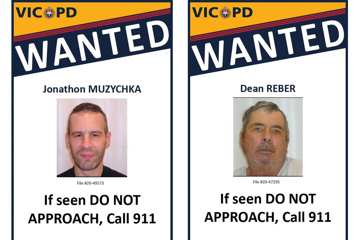 Jonathon Muzychka and Dean Reber are wanted on Canada-wide warrants. (Courtesy of Victoria Police Department)