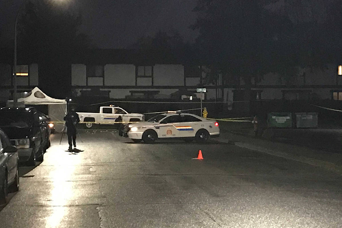 Homicide investigators are on scene in Langley in the area of 207th Street and 53A Avenue on Jan. 27, 2020. (Matthew Claxton/Langley Advance Times)