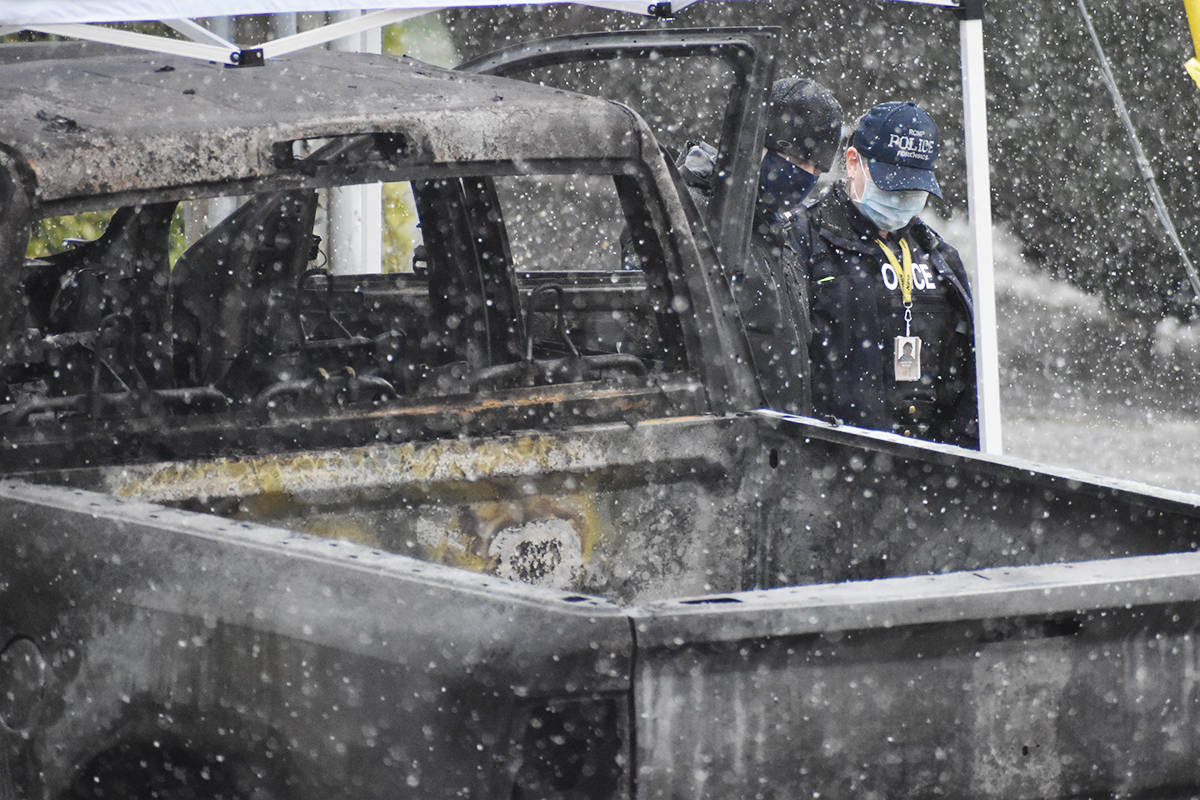 A burnt-out truck discovered in Surrey was located after a shooting in Langley City on Wednesday, Jan. 27, 2021 (Aaron Hinks/Black Press Media)