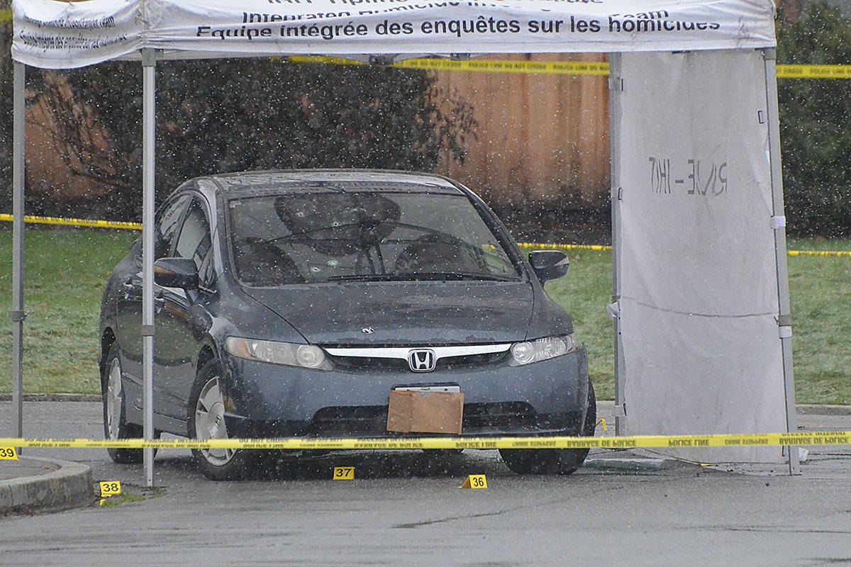 Several bullet holes were visible in the windshield of the vehicle at the murder scene in Langley City. (Matthew Claxton/Langley Advance Times)