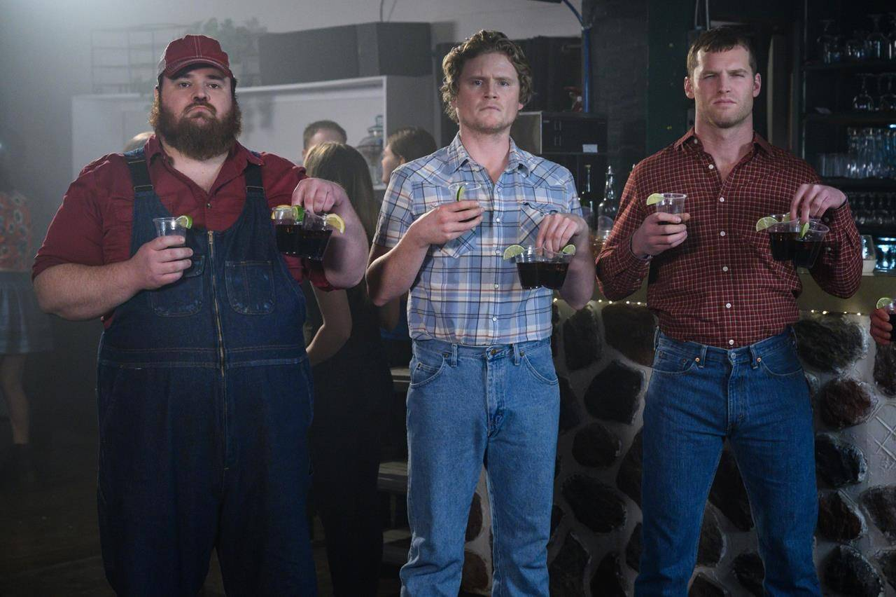 "K. Trevor Wilson, left to right, Nathan Dales and Jared Keeso of ""Letterkenny"" pose in this undated handout photo. ""Letterkenny"" has signed a number of new merchandising deals, including one with collectible figurine creator Funko. THE CANADIAN PRESS/HO - Bell Media, Amanda Matlovich"