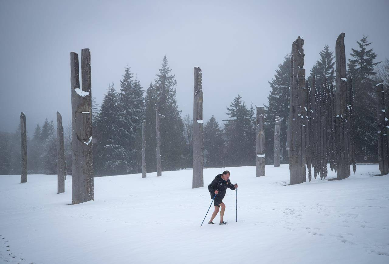 """A man wearing shorts uses trekking poles as he walks through the snow at Burnaby Mountain Park in Burnaby, B.C., on Sunday, Jan. 24, 2021. Canadians are """"Angry Birds"""" when it comes to climate action, indicates a survey the United Nations calls the largest ever taken on the issue. THE CANADIAN PRESS/Darryl Dyck"""