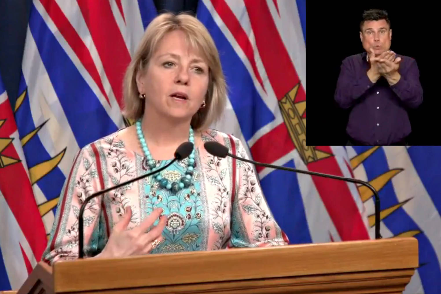 Dr. Bonnie Henry, provincial health officer, updates British Columbians about COVID-19 at a press conference earlier this week. (B.C. Government image)