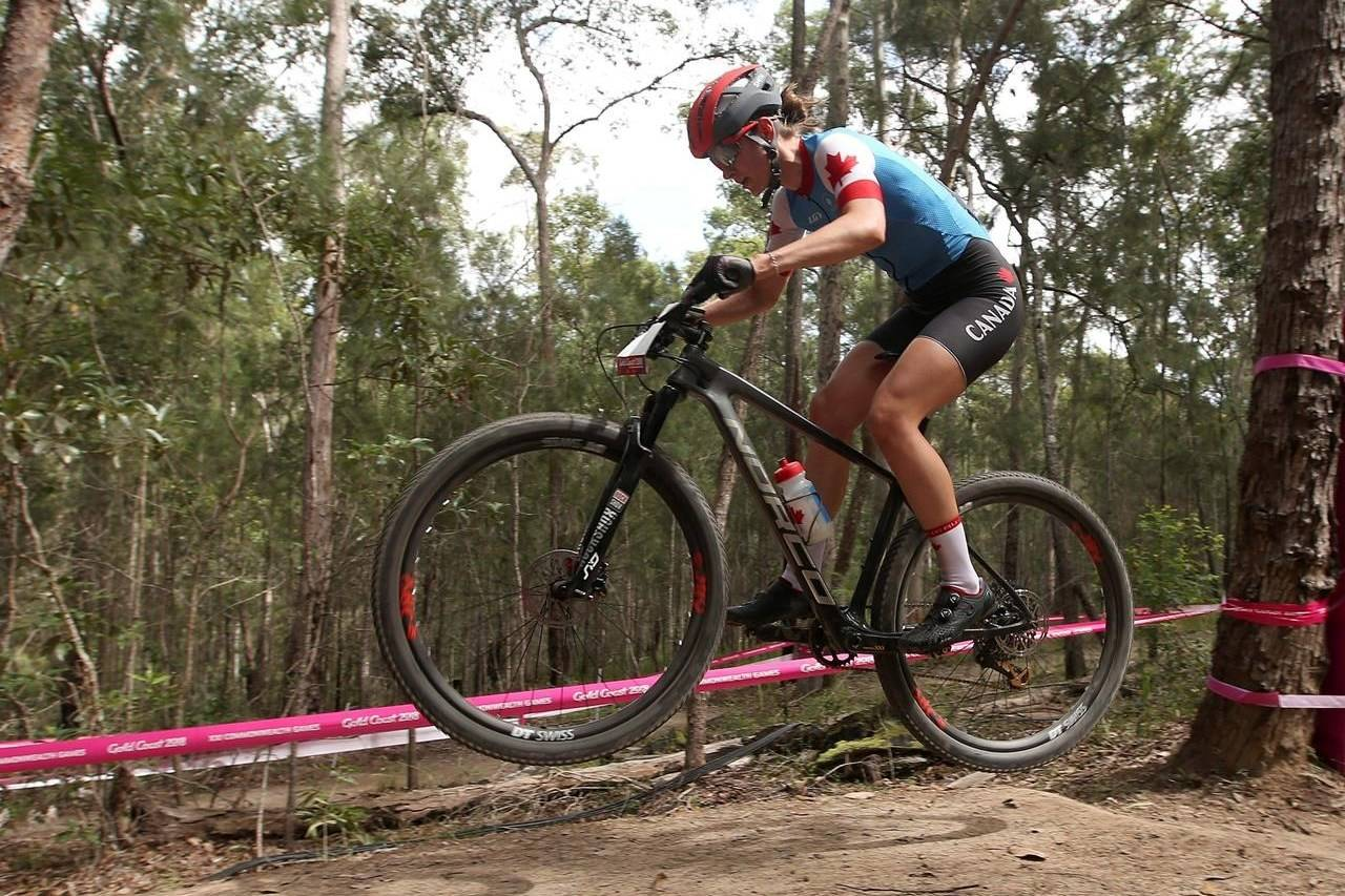 Canada's Haley Smith makes a jump during the women's cross-country race at the Nerrang mountain bike trails during the 2018 Commonwealth Games on the Gold Coast, Australia, Thursday, April 12, 2018. When COVID-19 swept across the country last spring, forcing lockdowns and cancelling sporting events, Canadian mountain biker Haley Smith's response was swift — train harder. THE CANADIAN PRESS/AP, Rick Rycroft