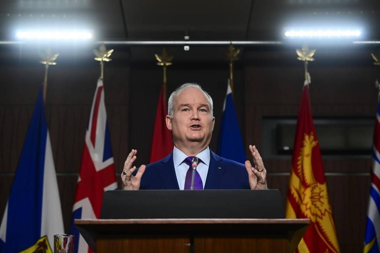 Conservative leader Erin O'Toole holds a press conference on ParlIament Hill in Ottawa on January 25, 2021. THE CANADIAN PRESS/Sean Kilpatrick