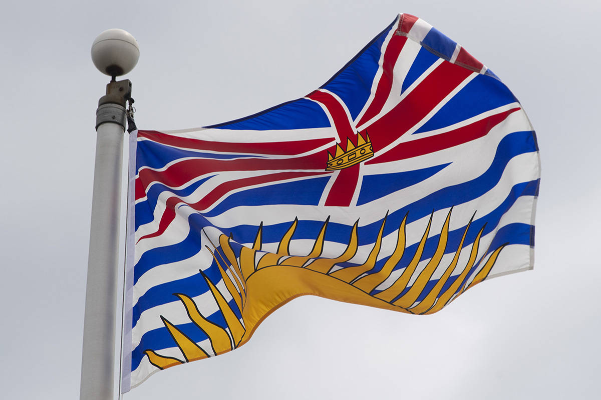 British Columbia's provincial flag flies on a flag pole in Ottawa, Friday July 3, 2020. British Columbia's financial outlook is being hammered by the COVID-19 pandemic, but the provincial government says a partial recovery is on the horizon next year.THE CANADIAN PRESS/Adrian Wyld