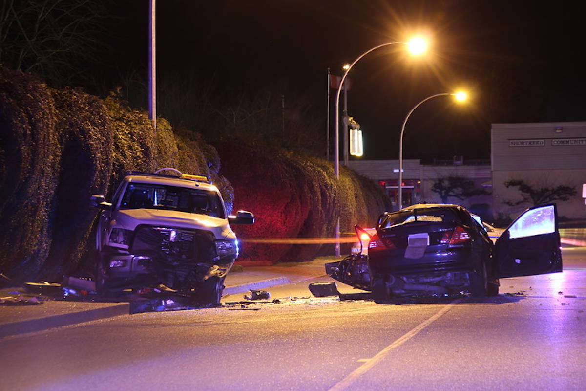 Two people were sent to hospital — one in serious condition — after a collision in Aldergrove on Feb. 10, 2018 (Aldergrove Star files)