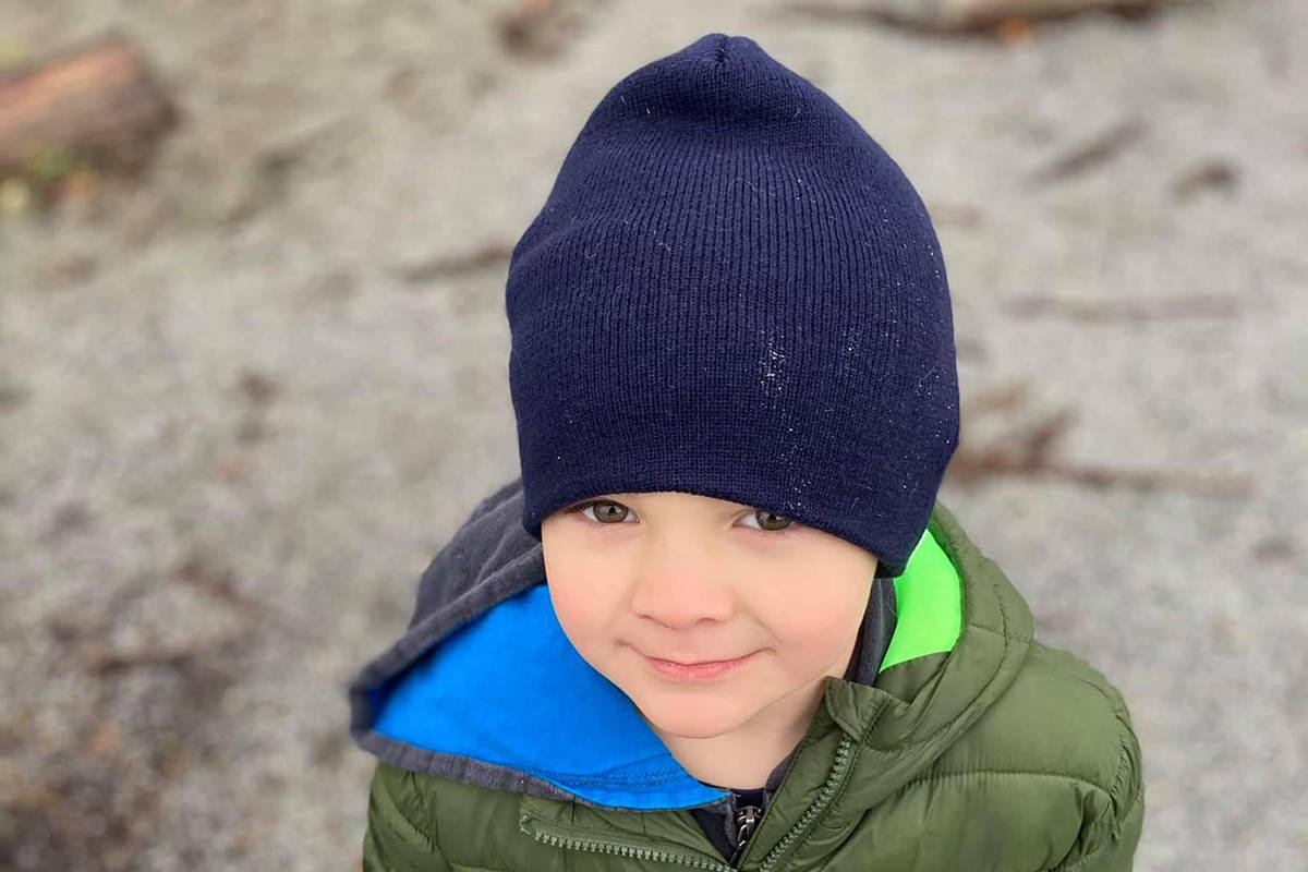 Happy-go-lucky-Zachary has been praised for his hardiness in the comment section of the viral video. He popped right back up – chuckling – after being tackled by his puppy buddy, Zeke. (Special to The News)