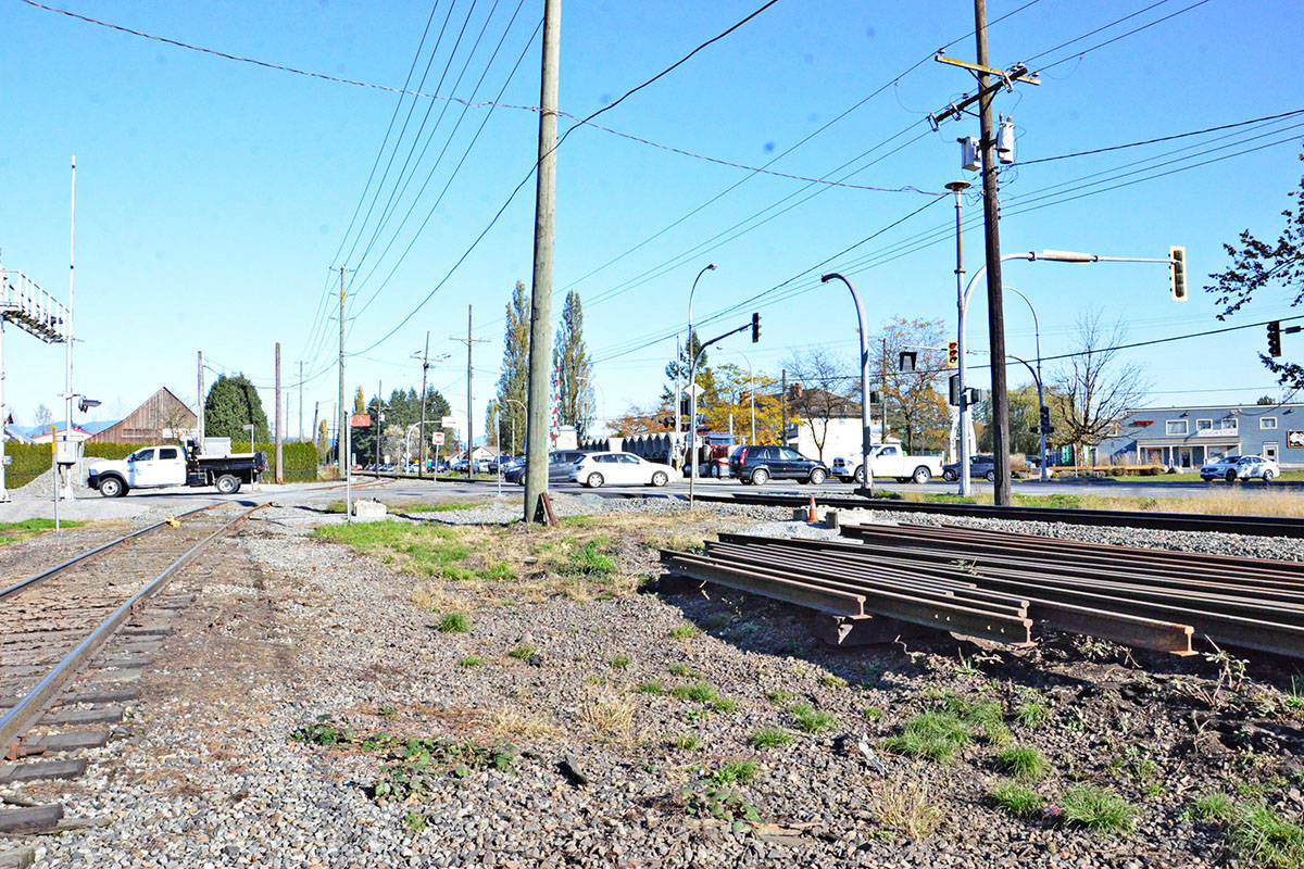 The area at Glover Road and 216th Street (Crush Crescent) is a busy thoroughfare with road and rail traffic and a handful of businesses. (Langley Advance Times files)