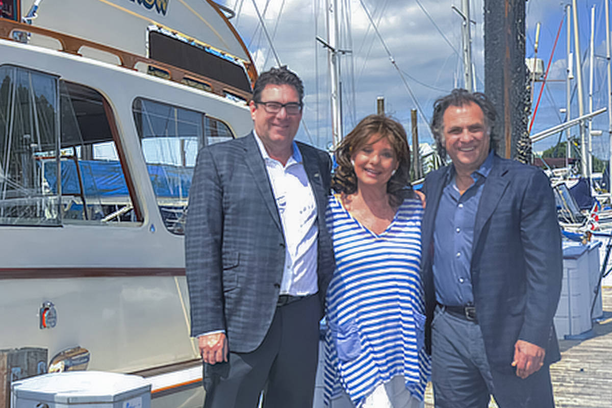 From left: Ken Schley, Dawn Wells (Mary Ann from 'Gilligan's Island') and John Briuolo with the 'SS Minnow'. (Photo submitted, courtesy Ken Schley)