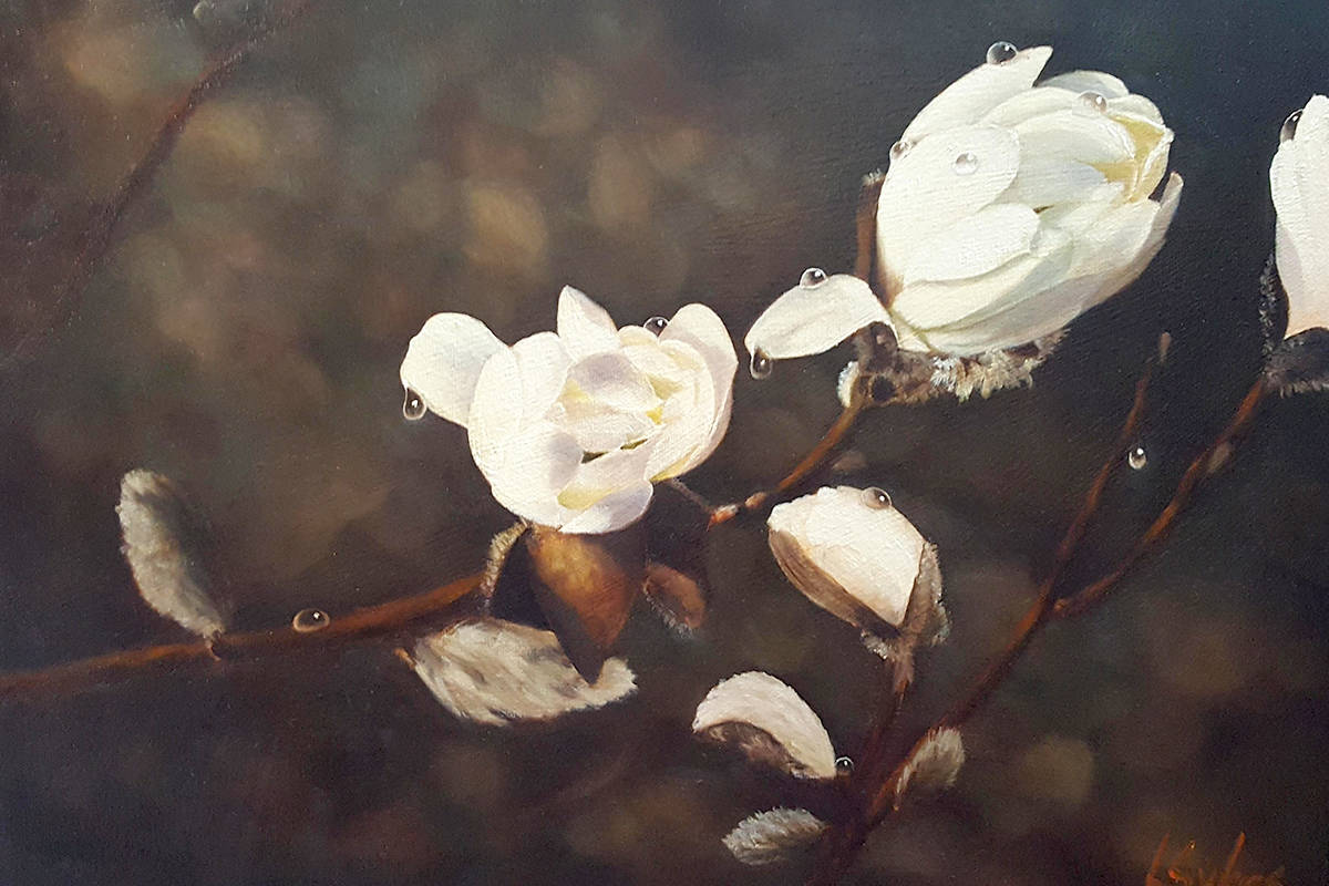 """First Place winner of the Celebrating Creativity show was Lynn C.Sykes for """"Spring Magnolias,"""" which will be on display at Aldergrove Kinsmen Community Centre, Feb. 19 to March 31. (Special to The Star)"""