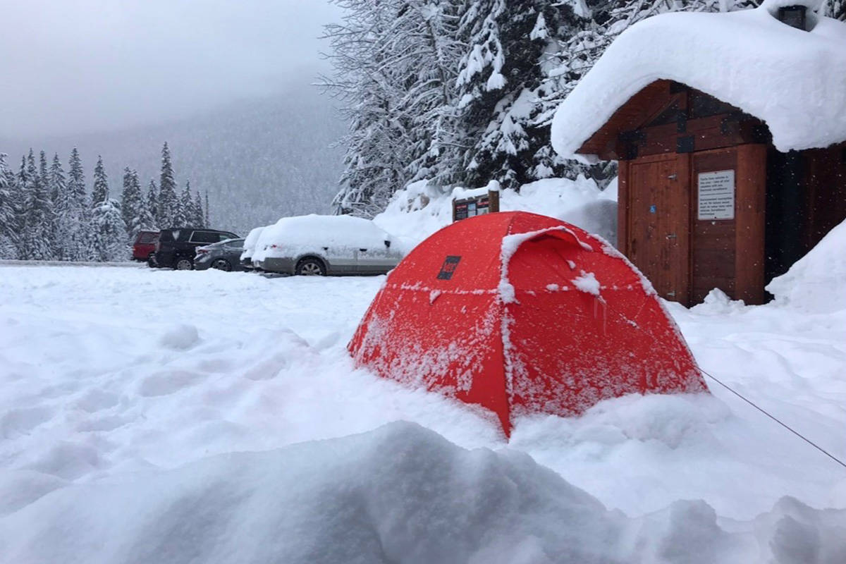 It was common for Iliajah Pidskalny to camp out in his tent during the nights along his winter cycling journey, such as this picture taken at Rogers Pass on Jan. 18. (Photo/Iliajah Pidskalny)