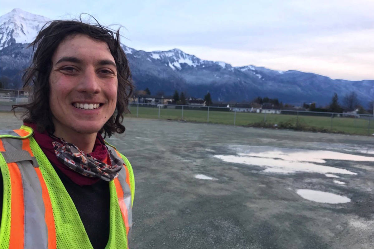 Iliajah Pidskalny has been riding from Saskatchewan to Vancouver to raise awareness and funds for change in drug policies and mental health help. Having passed through Hope this week, He is pictured here outside of Agassiz on Wednesday and expects to complete his journey to Vancouver on Friday. (Contributed Photo/Iliajah Pidskalny)