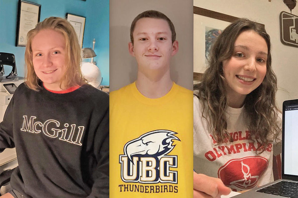 LOSC members Sevi Parr, Hugh McNeill, Isabella Brunoro have signed with 'powerhouse' universities (Special to the Langley Advance Times)
