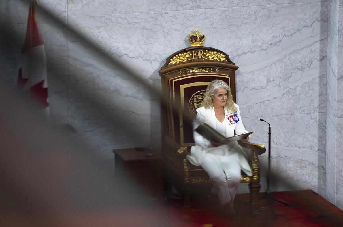 Julie Payette delivers the Speech from the Throne in the Senate chamber, at the Senate of Canada Building in Ottawa, on Wednesday, Sept. 23, 2020. Taxpayers will continue paying Payette a generous pension and an even heftier expense account for the rest of her life, even though she served just three years as governor general and resigned under a cloud. THE CANADIAN PRESS/Justin Tang