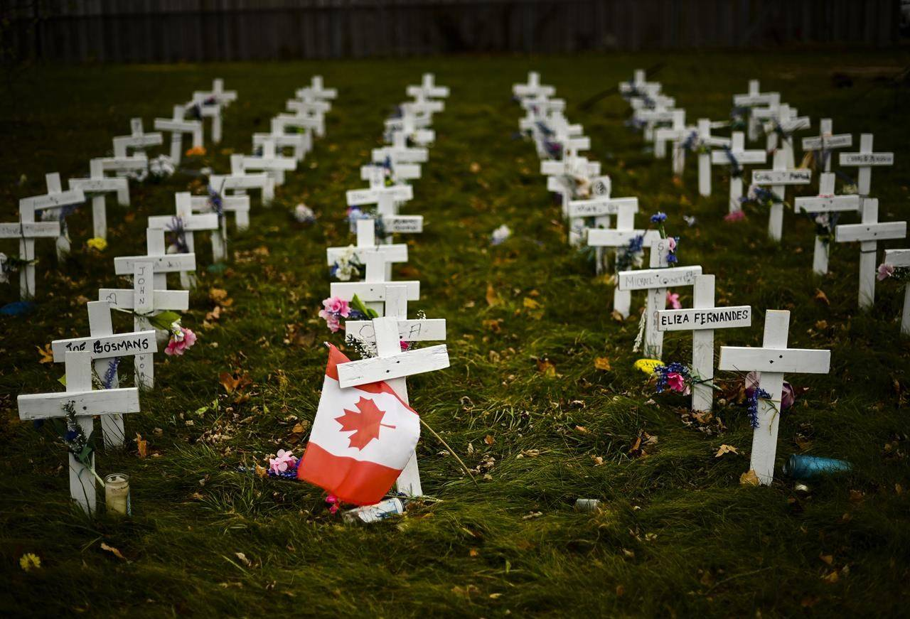 Crosses are displayed in memory of residents who died from COVID-19 at the Camilla Care Community facility in Mississauga, Ont., on Nov. 19, 2020. THE CANADIAN PRESS/Nathan Denette