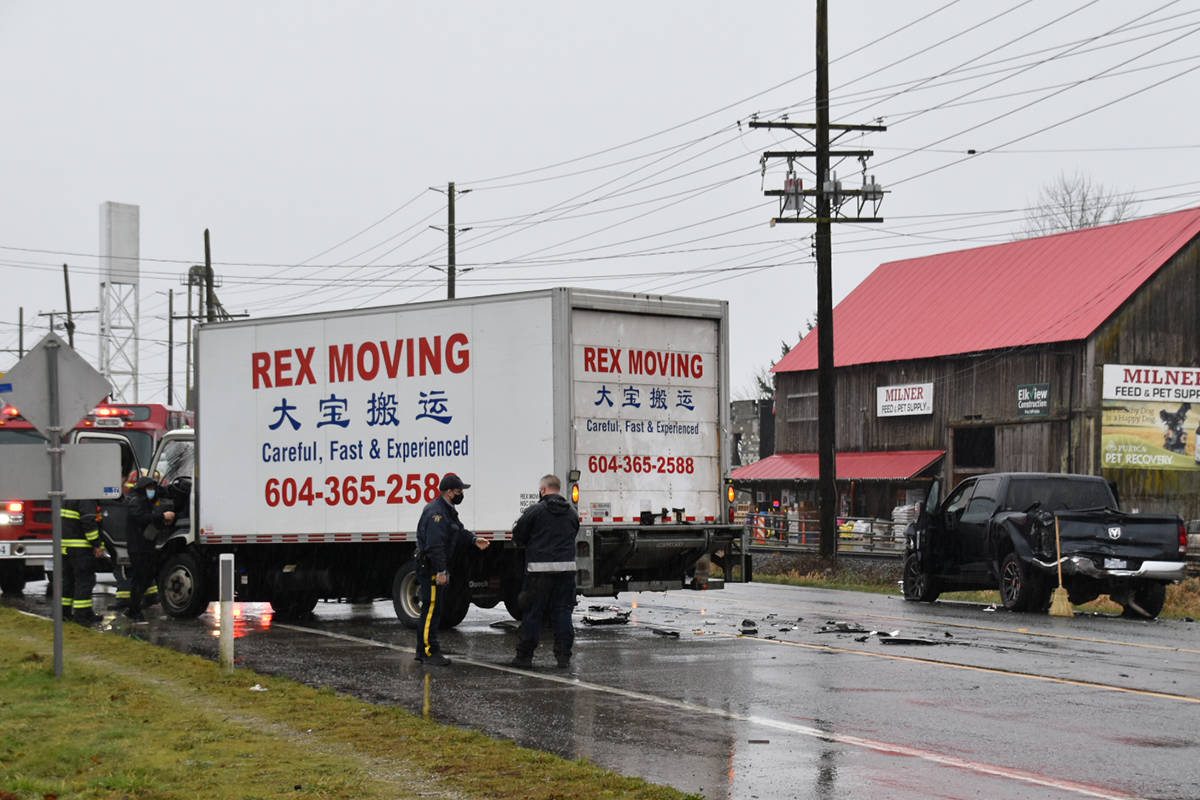 A multi-vehicle crash tied up traffic in the 6800 block Glover Road Sunday afternoon, Jan. 31, 2021 (Curtis Kreklau/special to Langley Advance Times)
