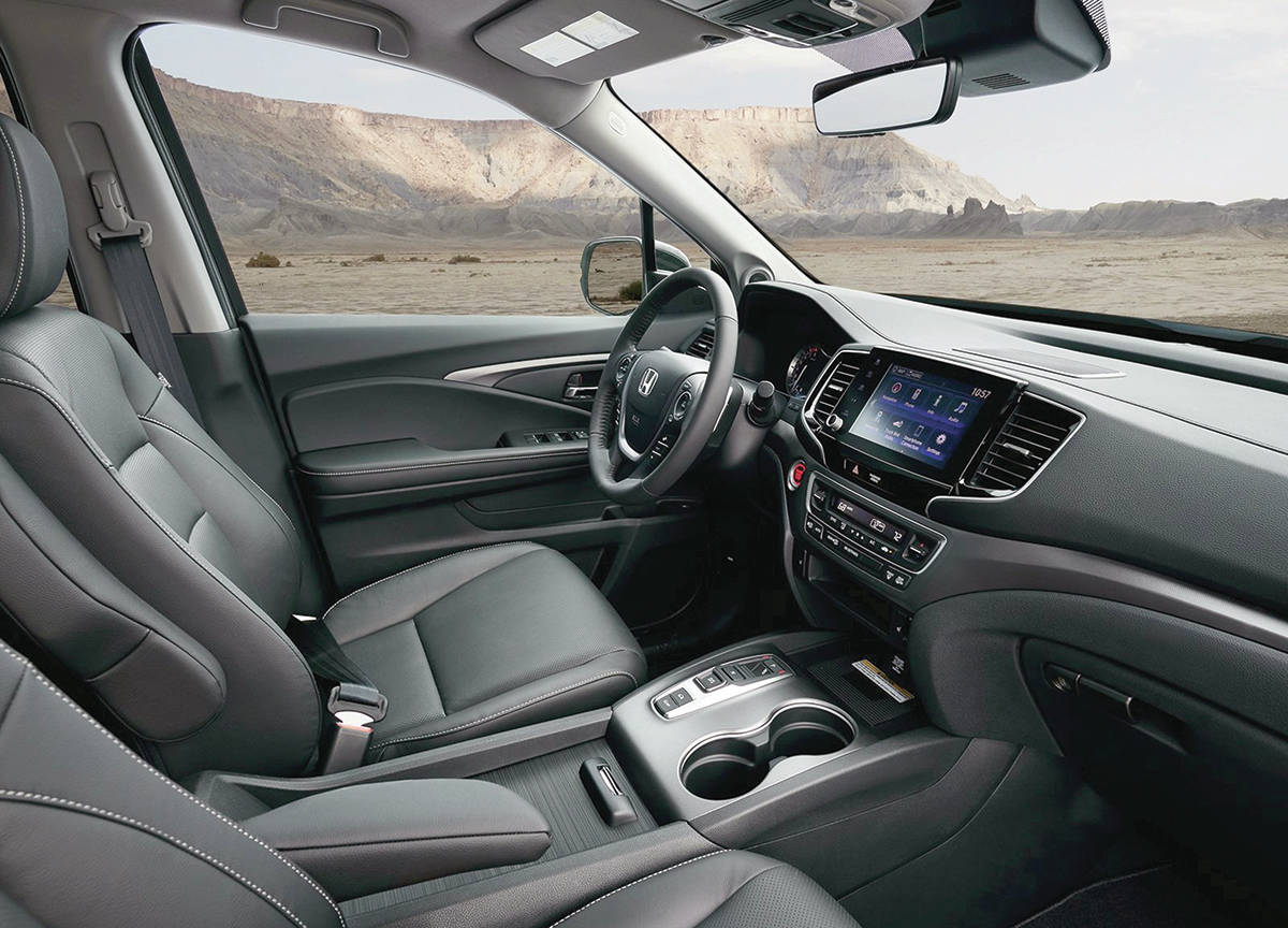 For the 2021 model year, the Ridgeline is mostly carryover with some updates to the infotainment system. Leather seating is optional. PHOTO: HONDA