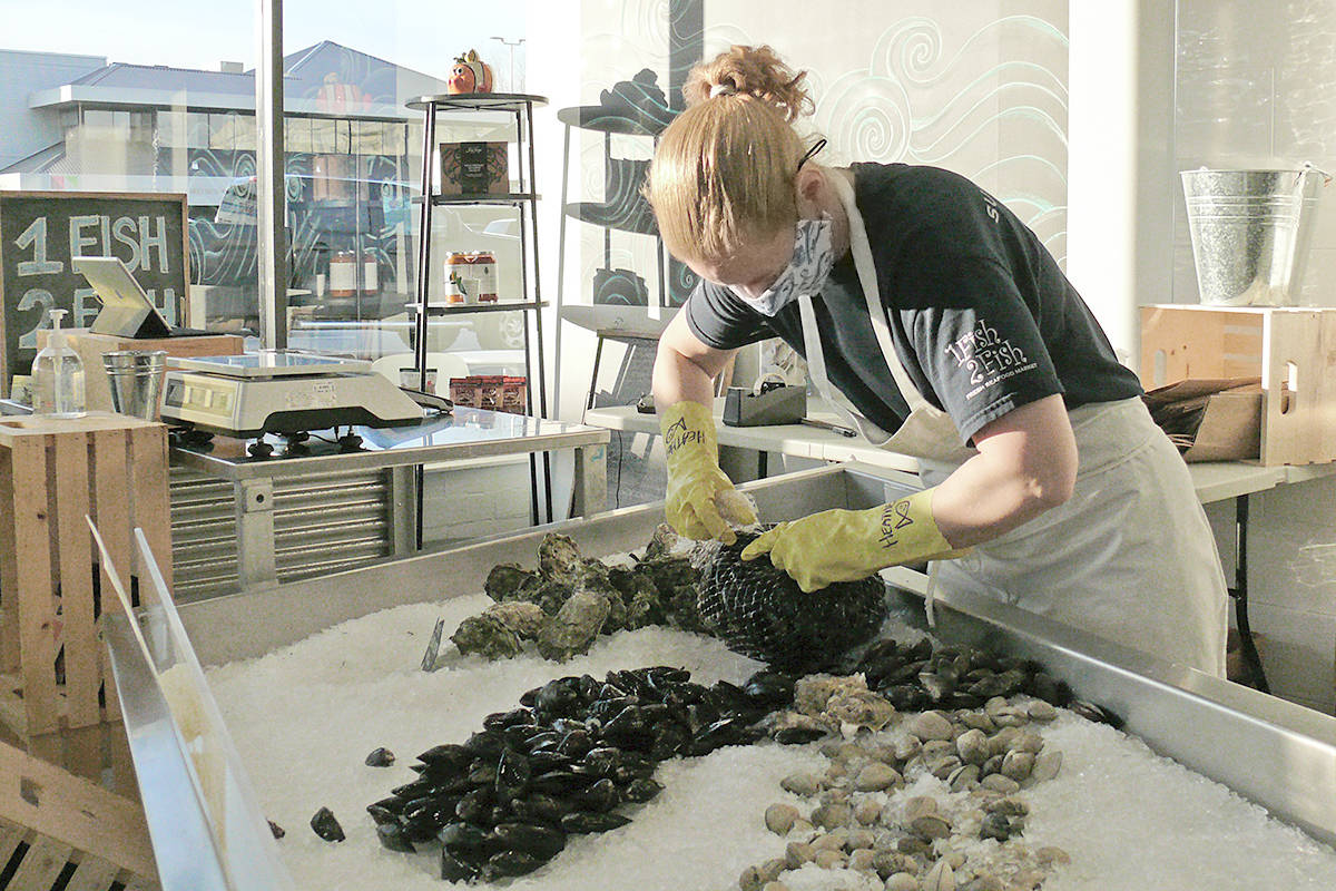 Heather Jenkins, owner of the 1 Fish 2 Fish Fresh Seafood Market at 102 – 20633 Fraser Hwy. in Langley City, unpacks some mussel. Jenkins has been a member of the Greater Langley Chamber of Commerce for 23 years. (Dan Ferguson/Langley Advance Times)