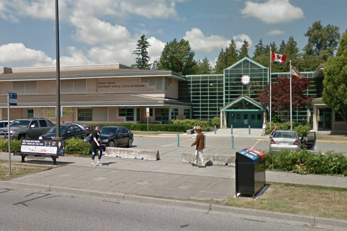 An individual with COVID-19 was at Walnut Grove Secondary on Jan. 28, 2021, according to Fraser Health. (Google photo)