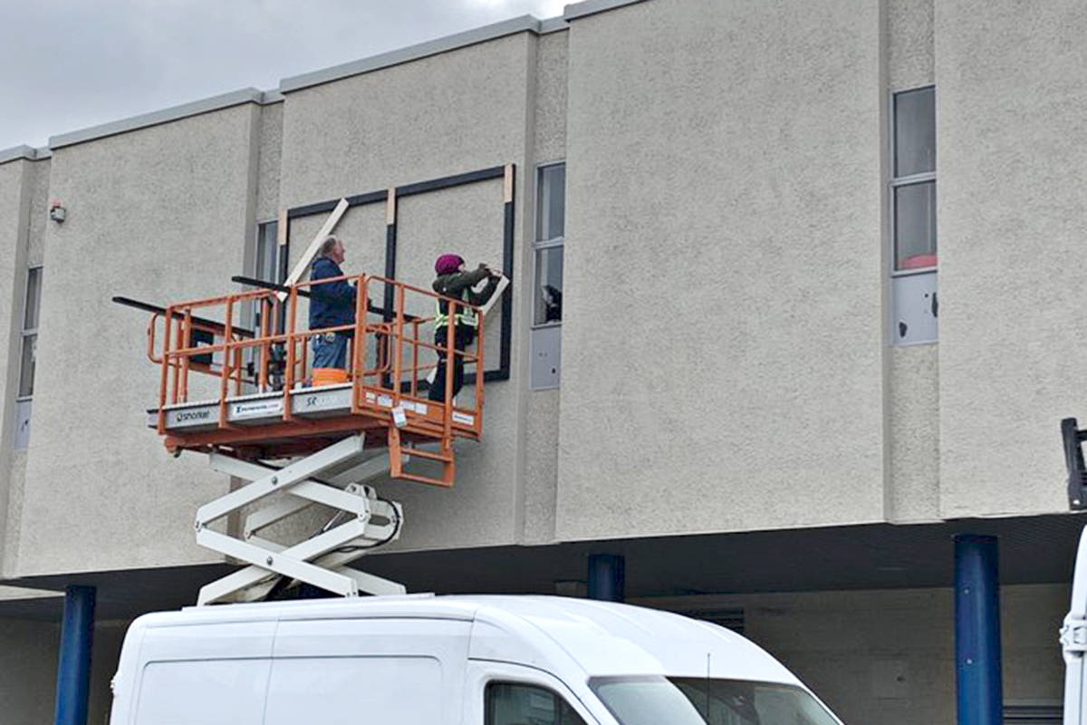 Aldergrove Community Secondary School tweeted out a photo of the installation of new murals on the front of the school in January 2021.