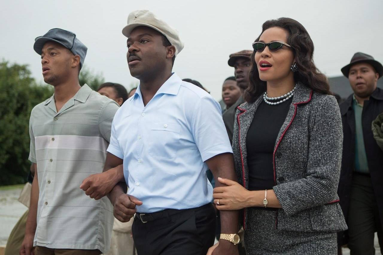 """This photo released by Paramount Pictures shows, David Oyelowo, centre, as Martin Luther King, Jr. and Carmen Ejogo, right, as Coretta Scott King in the film, """"Selma,"""" from Paramount Pictures and Pathé. THE CANADIAN PRESS/AP/Paramount Pictures, Atsushi Nishijima"""