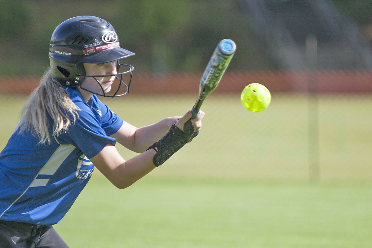 Savanah Roberts of the Langley Fastball Association Lightning Bolts was one of 250 players in 20 teams competing in the 2018 Softball B.C. U12 Regional Championships at Noel Booth Park. (Langley Advance Times file)