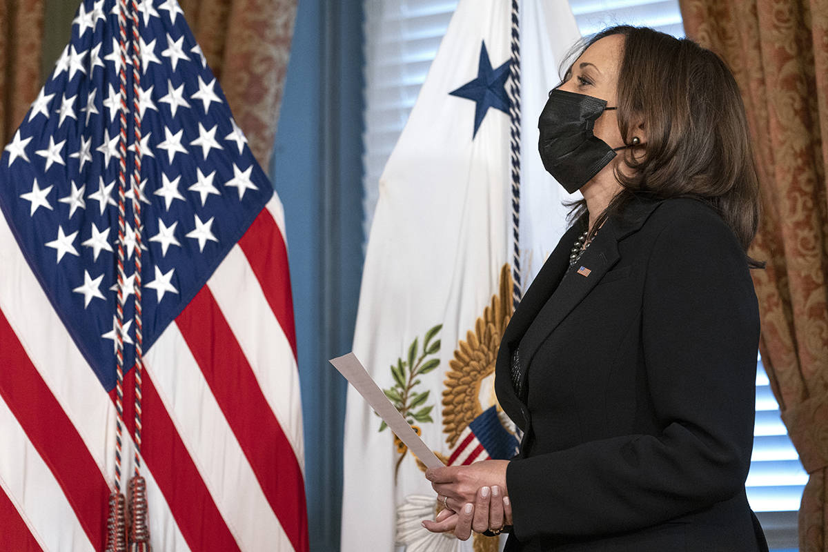 Vice President Kamala Harris ceremonially swears-in Antony Blinken as Secretary of State, Wednesday Jan. 27, 2021, in her ceremonial office in the Eisenhower Executive Office Building on the White House complex in Washington. (AP Photo/Jacquelyn Martin)