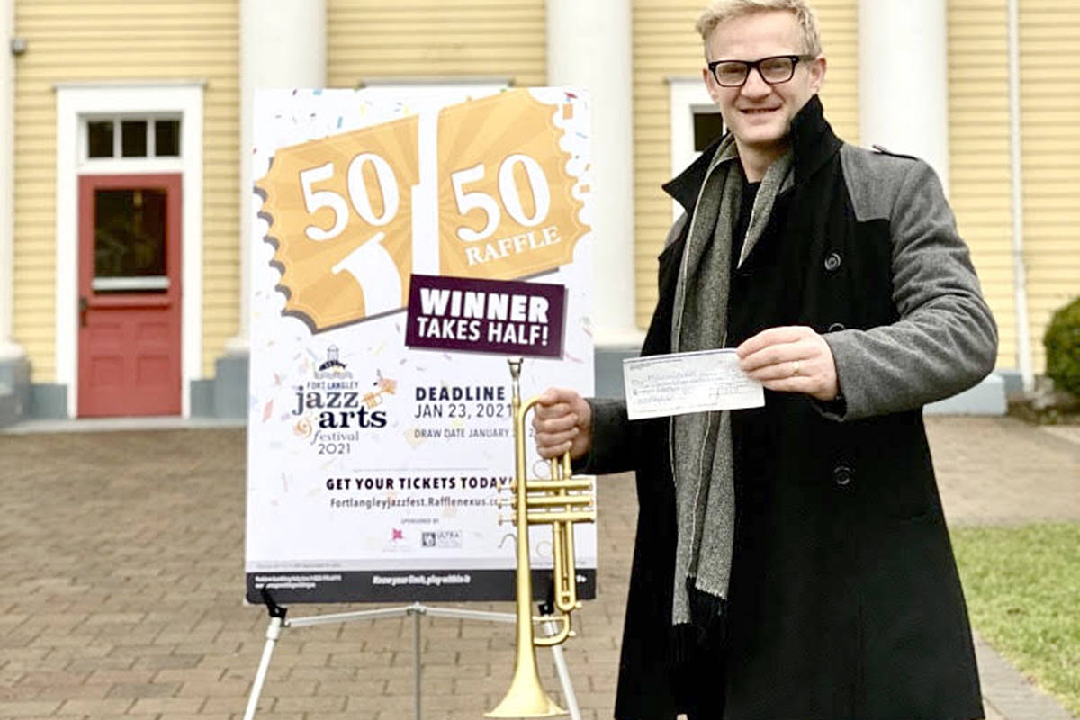 Vancouver jazz musician Malcolm Aiken, who also performed in the 2020 virtual Fort Langley Jazz & Arts Festival, became the first-ever 50/50 raffle winner.  (Special to Langley Advance Times)