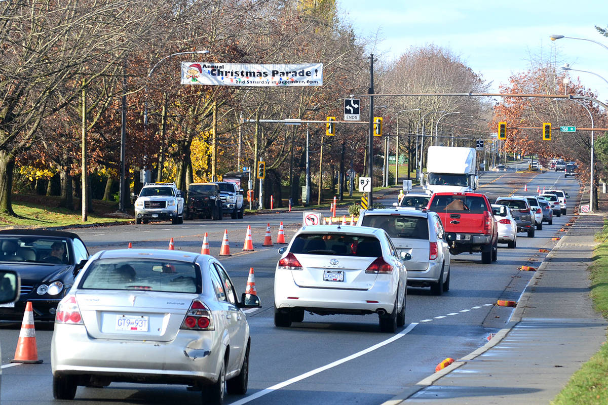 Construction on Fraser Highway between 265A and 270 Streets will delay traffic until end of Feb. 2021. (Ryan Uytdewilligen/Aldergrove Star)