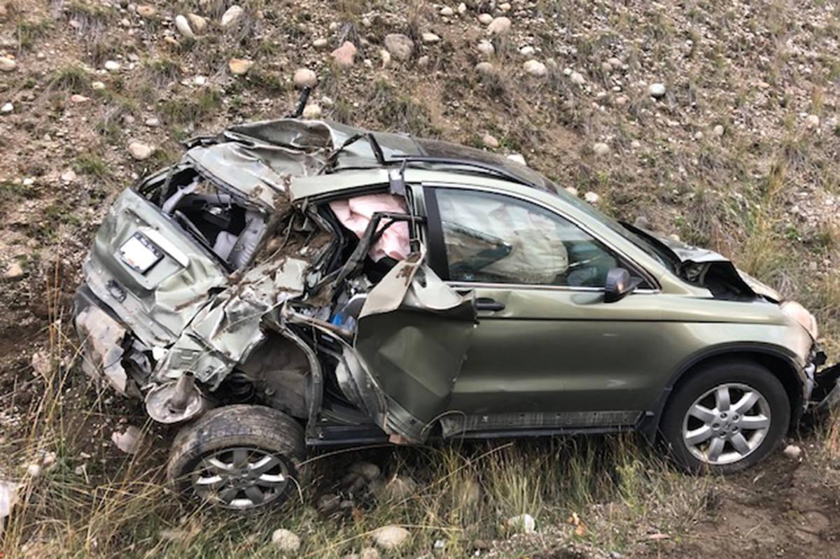 Vehicle damaged in accident in the Castlegar region, October 2020. (Castlegar Fire Department photo)