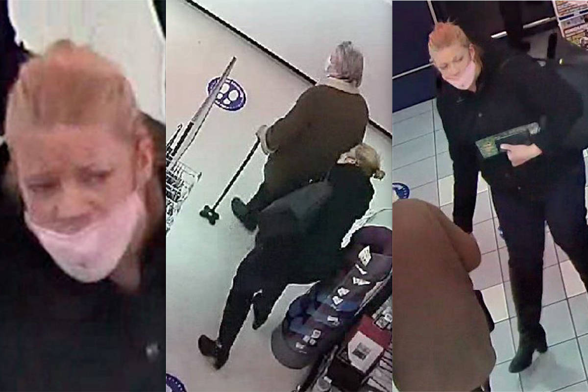 RCMP released surveillance images of a person who is believed to have stolen a senior's wallet at a Langley store on Jan. 27, then pretended to help them search for it (RCMP/Special to Langley Advance Times)