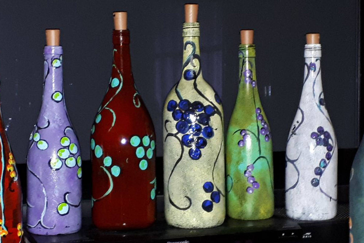 White Rock's Bob Jadis began painting and selling wine bottles to raise money for the food bank. (Contributed photos)