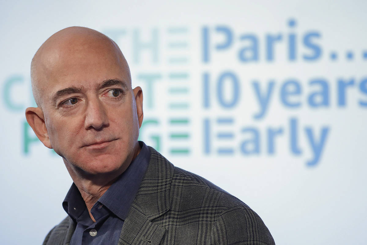 FILE - In this Sept. 19, 2019 file photo, Amazon CEO Jeff Bezos speaks during his news conference at the National Press Club in Washington. (AP Photo/Pablo Martinez Monsivais, File)