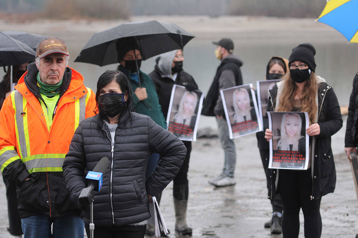 Alina Durham (left) speaks with media about her missing daughter, Shaelene Bell, on Tuesday, Feb. 2, 2021 on Ballam Road in Chilliwack. (Jenna Hauck/ Chilliwack Progress)