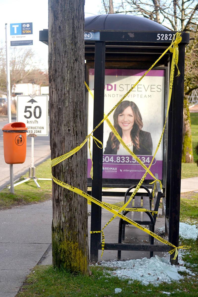A bus stop at Fraser Highway and 264th Street in Aldergrove has been vandalized. (Ryan Uytdewilligen/Aldergrove Star)