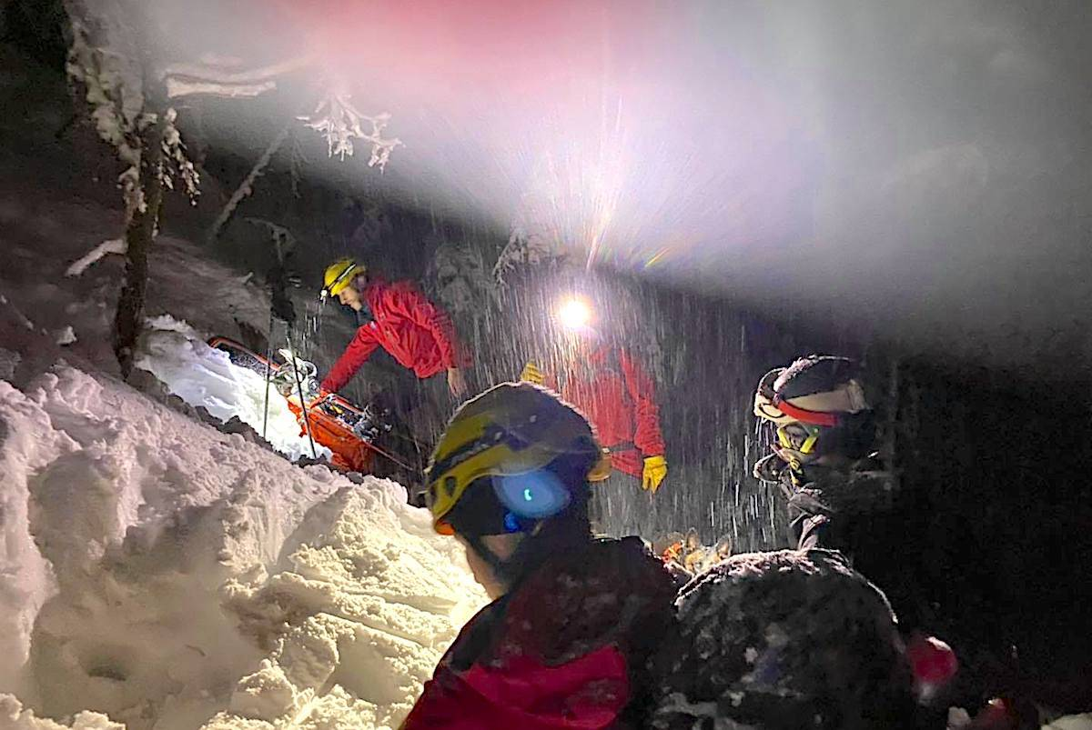 Rescue crews aided a snowboarder who had ducked the ropes behind the Sky Chair at Cypress Mountain into dangerous avalanche territory on Tuesday night. (Facebook/North Shore Rescue)