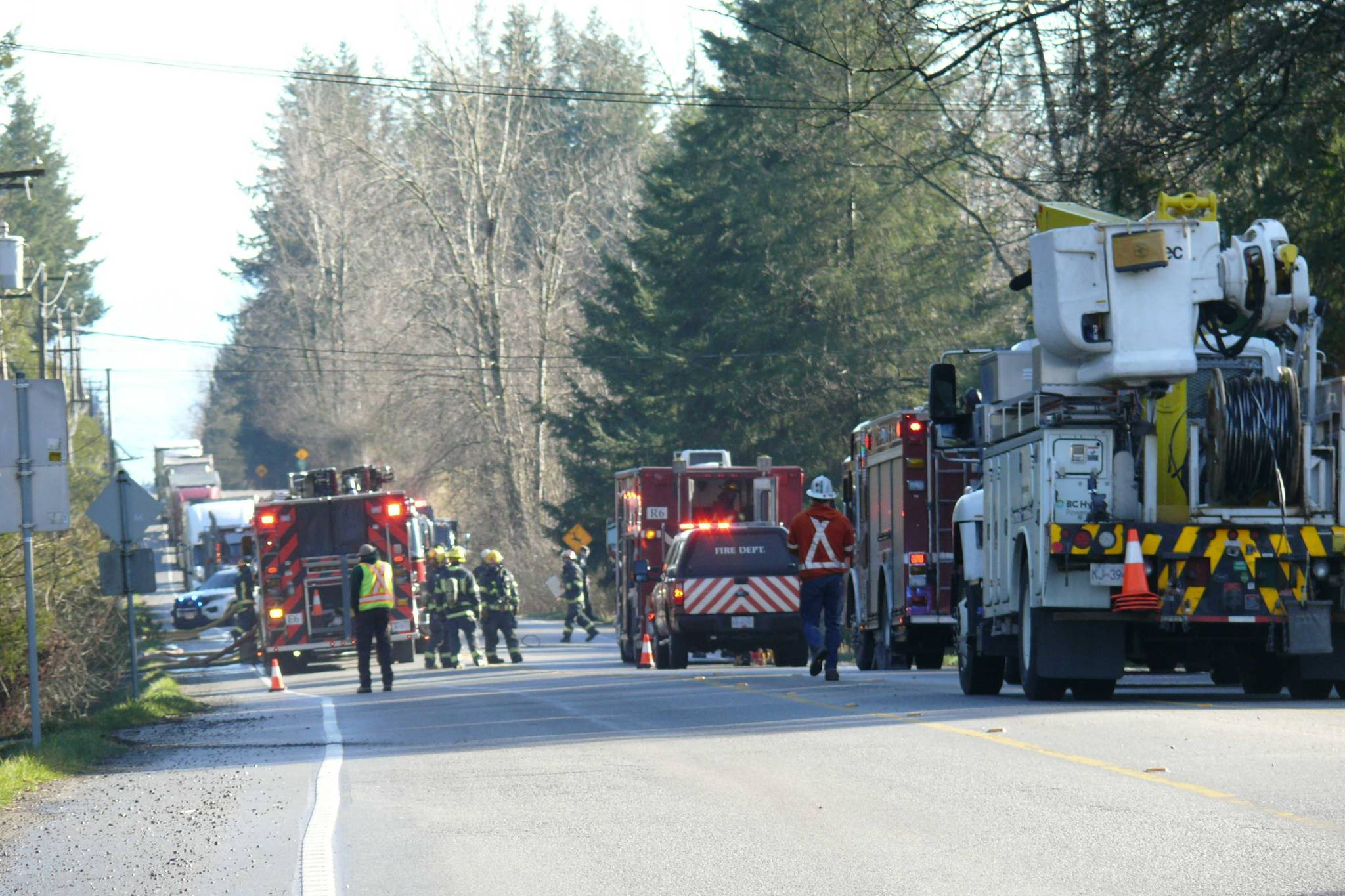 Crews are on scene at a house fire in Langley, Wednesday morning Feb. 3, 2021. Road is closed at 16th Avenue between 232nd and 240th streets. (Dan Ferguson/Langley Advance Times)